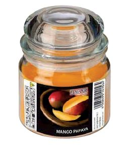 CANDELE IN VASO DI VETRO 90X120 MM PESCA MANGO PAPAYA